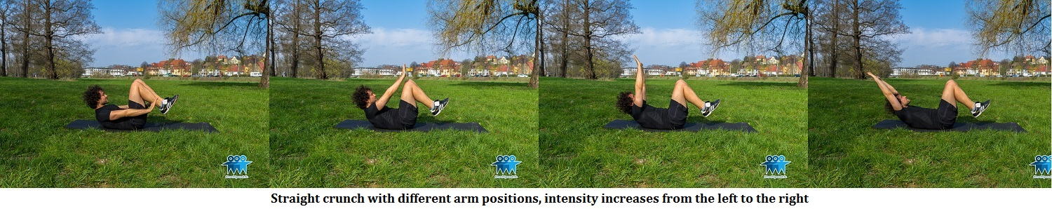 Straight abdominal crunch with different arm positions