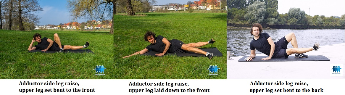 Adductor side leg raises variations