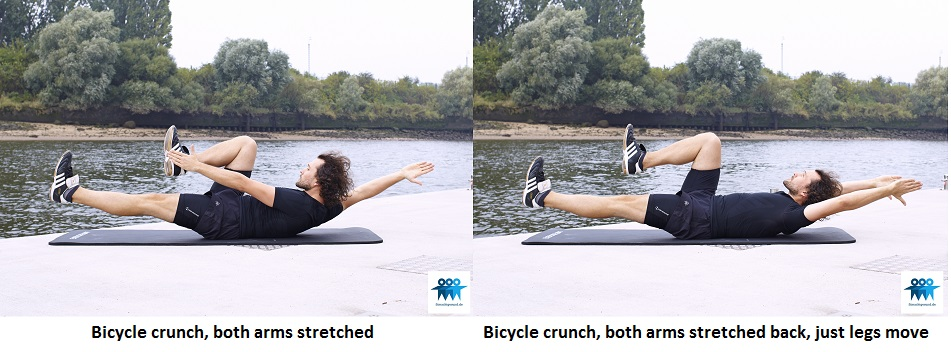 Bicycle crunch, both arms stretched