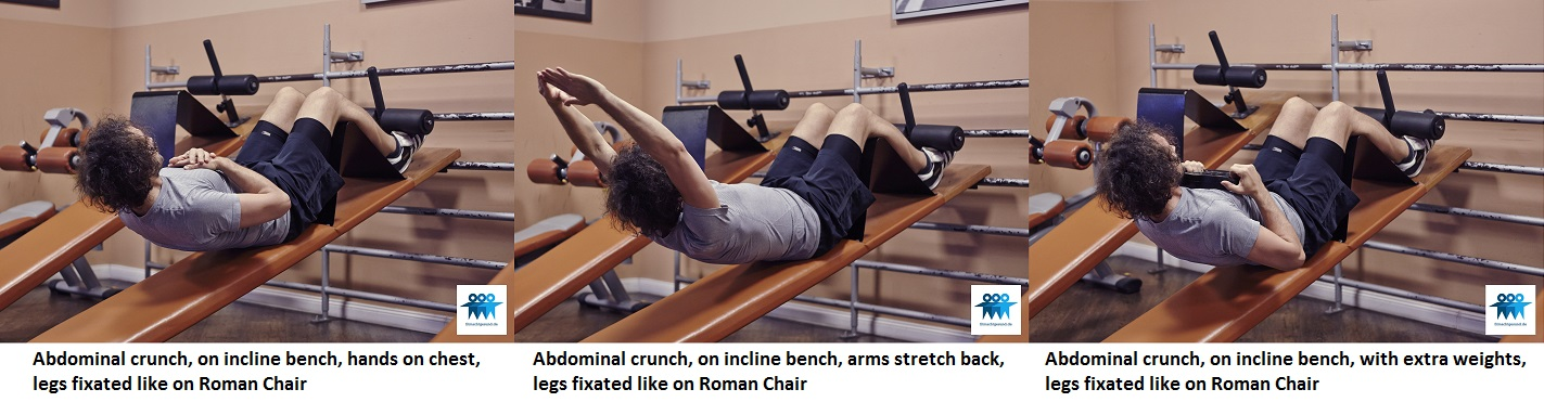 Ab crunch on incline bench
