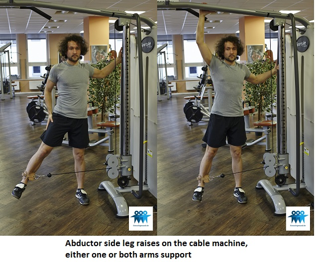 Abductor side leg raises on the cable machine