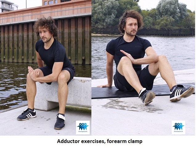 Adductor exercises, forearm clamp