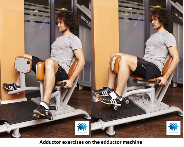 Adductor exercises on the adductor machine