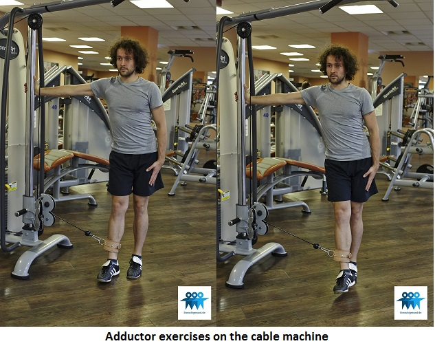 Adductor exercises on the cable machine