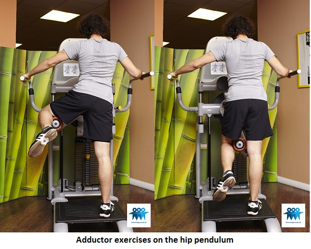 Adductor exercises on the hip pendulum