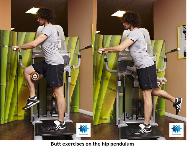 Butt exercises on the hip pendulum