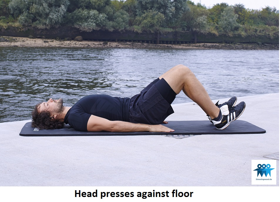 Head presses against floor
