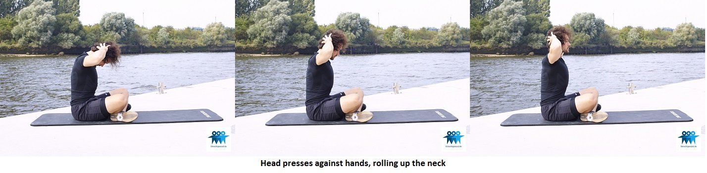 Head presses against hands
