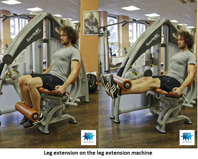 Leg extension on the machine