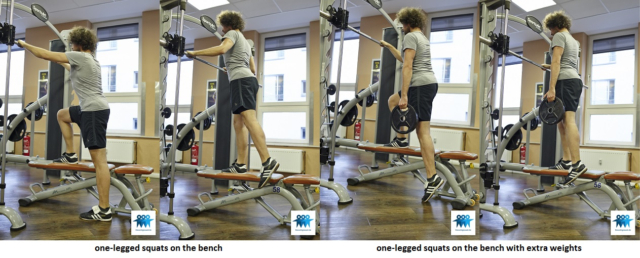 One-legged squats on the bench