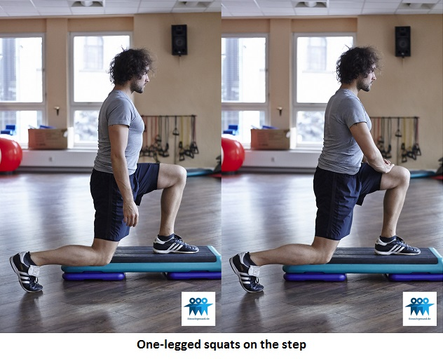 One-legged squats on the step