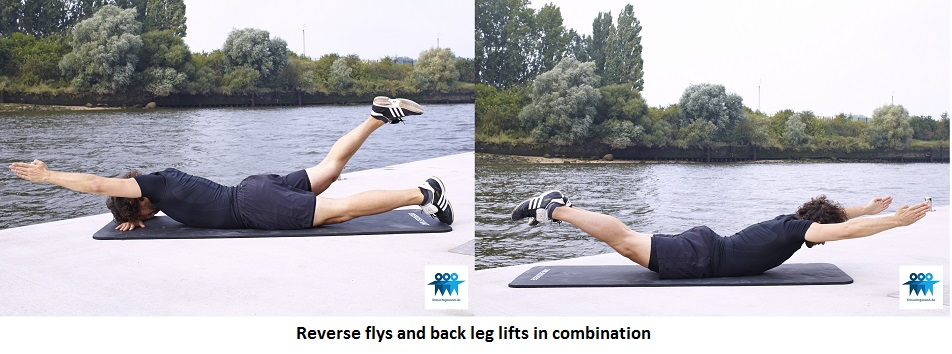 Reverse flys and back leg lifts in combination