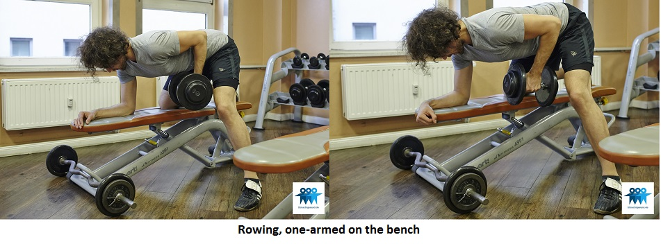Rowing, one-armed on the bench