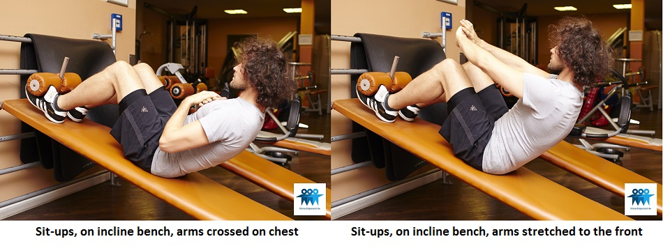 Sit-ups on incline bench