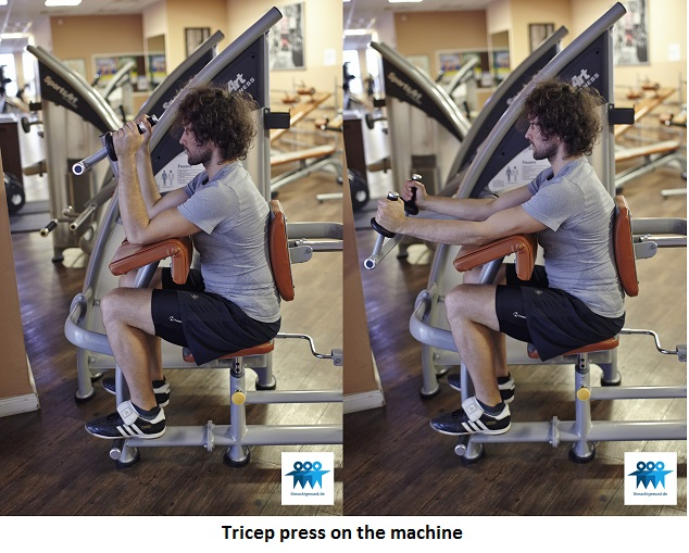 Tricep press on the machine