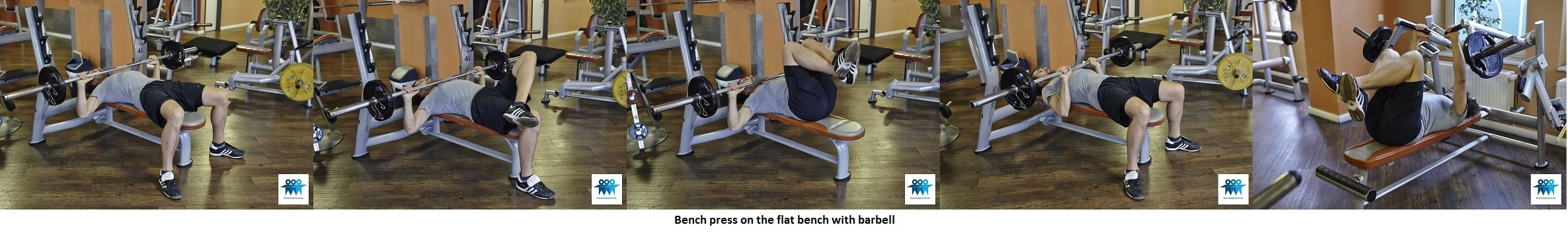 Bench press on the flat bench with barbell