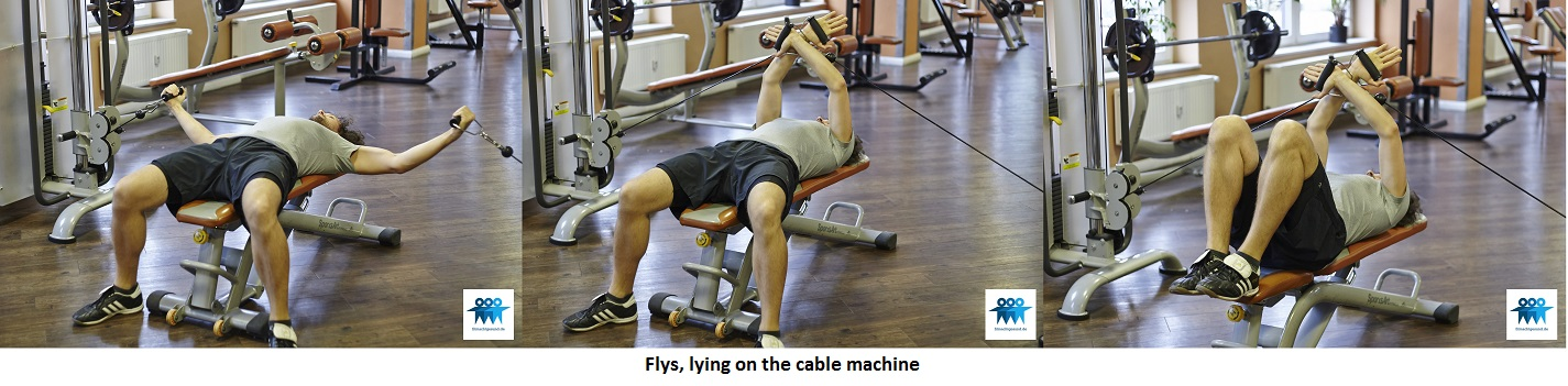 Flys, lying on the cable machine