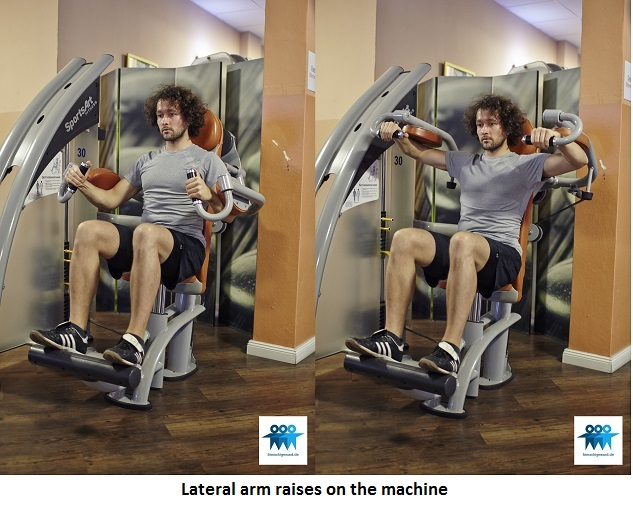 Lateral arm raises on the machine