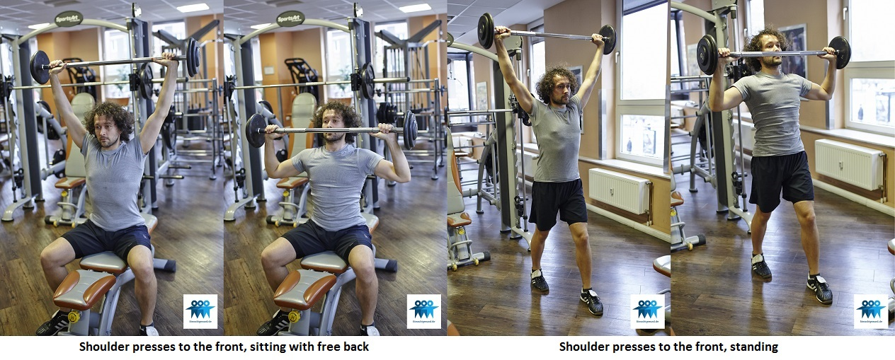 Shoulder presses to the front, free back