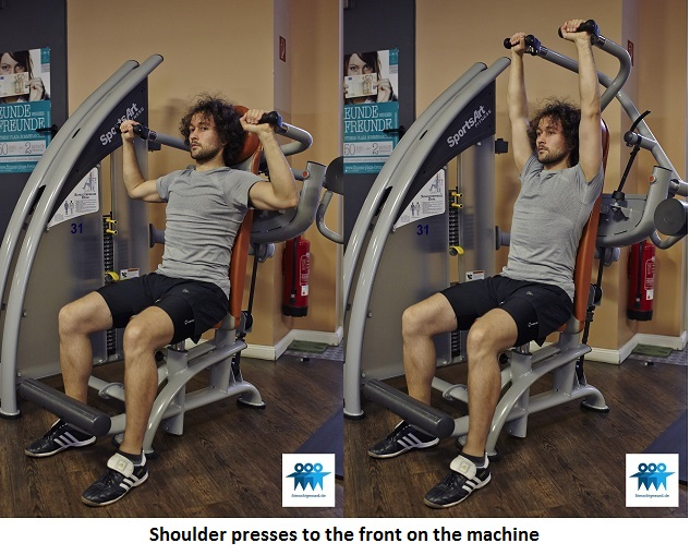 Shoulder presses to the front on the machine