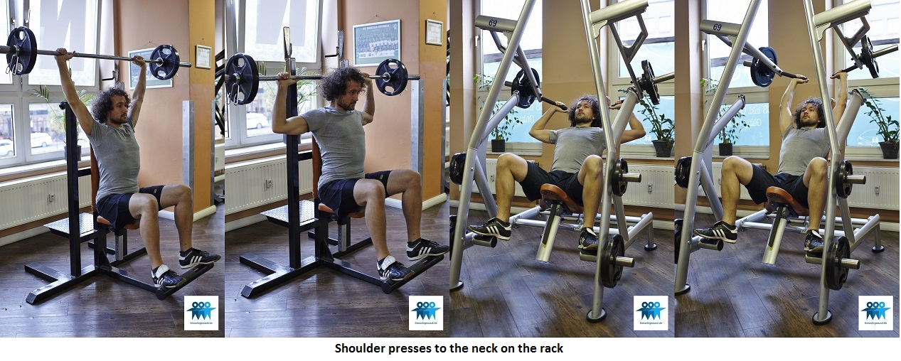 Shoulder presses to the neck on the rack