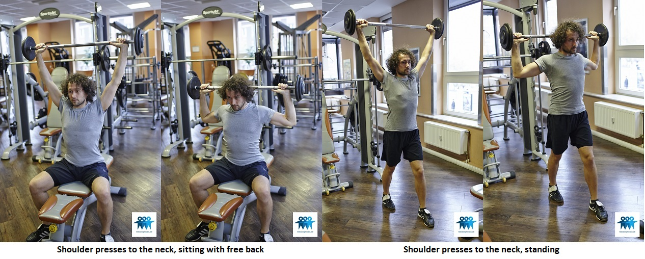 Shoulder presses to the neck, free back