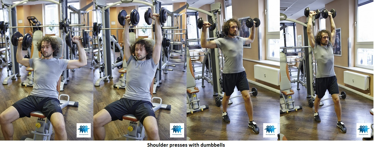 Shoulder presses with dumbbells
