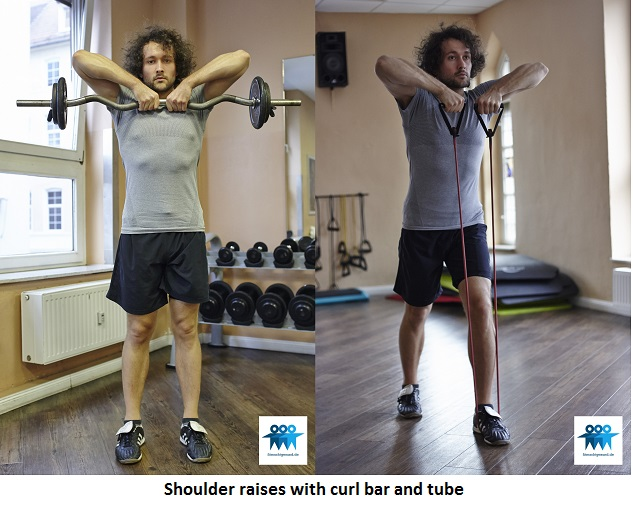 Shoulder raises with curl bar