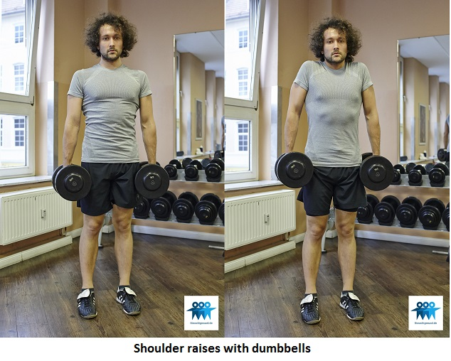 Shoulder raises with dumbbells